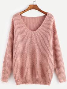 Pink Ribbed Knit V Neck Drop Shoulder Sweater SHEIN