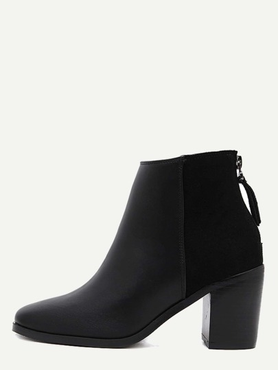 Black PU Square Toe Back Zipper Chunky Ankle Boots