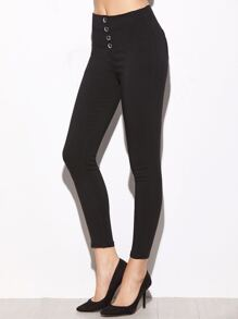 Black Single Breasted Elastic Ankle Pants