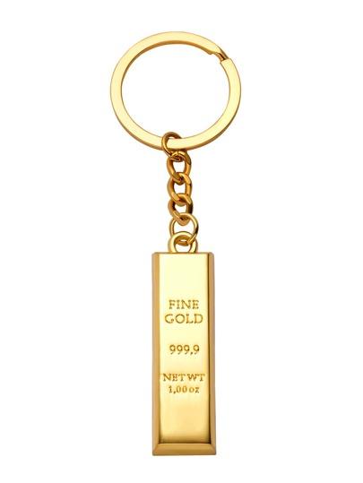 Gold Brick Design Letter Carved Keychain