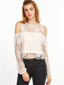 Apricot Cold Shoulder Keyhole Tie Back Ruffle Lace Top
