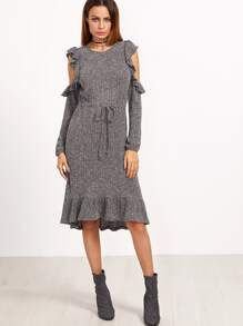Marled Open Shoulder Drawstring Waist Frill Dress