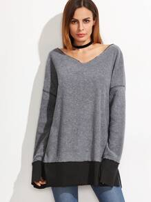Heather Grey V Neck Contrast Trim Slit Sweatshirt