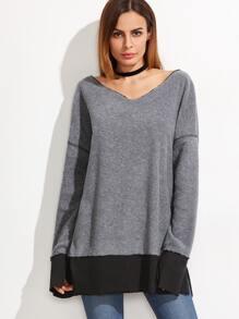 Heather Grey V Neck Contrast Trim Slit Sweatshirt