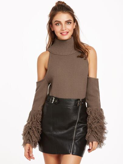 Coffee Turtleneck Cold Shoulder Fringe Sleeve Sweater