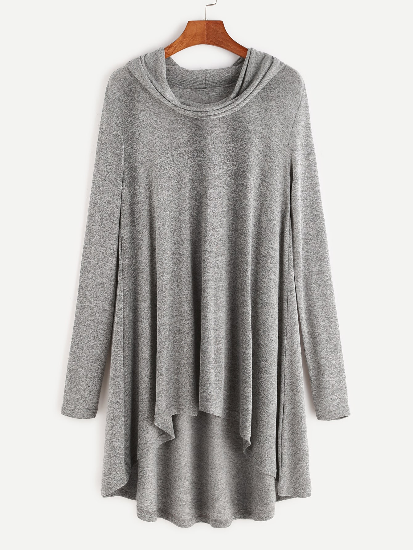Buy Heather Grey Cowl Neck High Low T-shirt