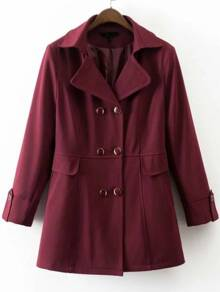 Burgundy Double Breasted Trench Coat