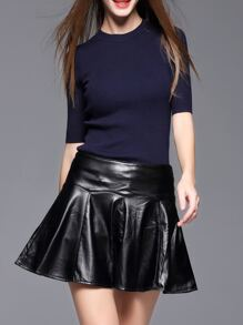 Navy Knitwear Top With Pu Skirt