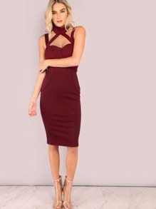 Cross Strap Bustier Bodycon Dress BURGUNDY