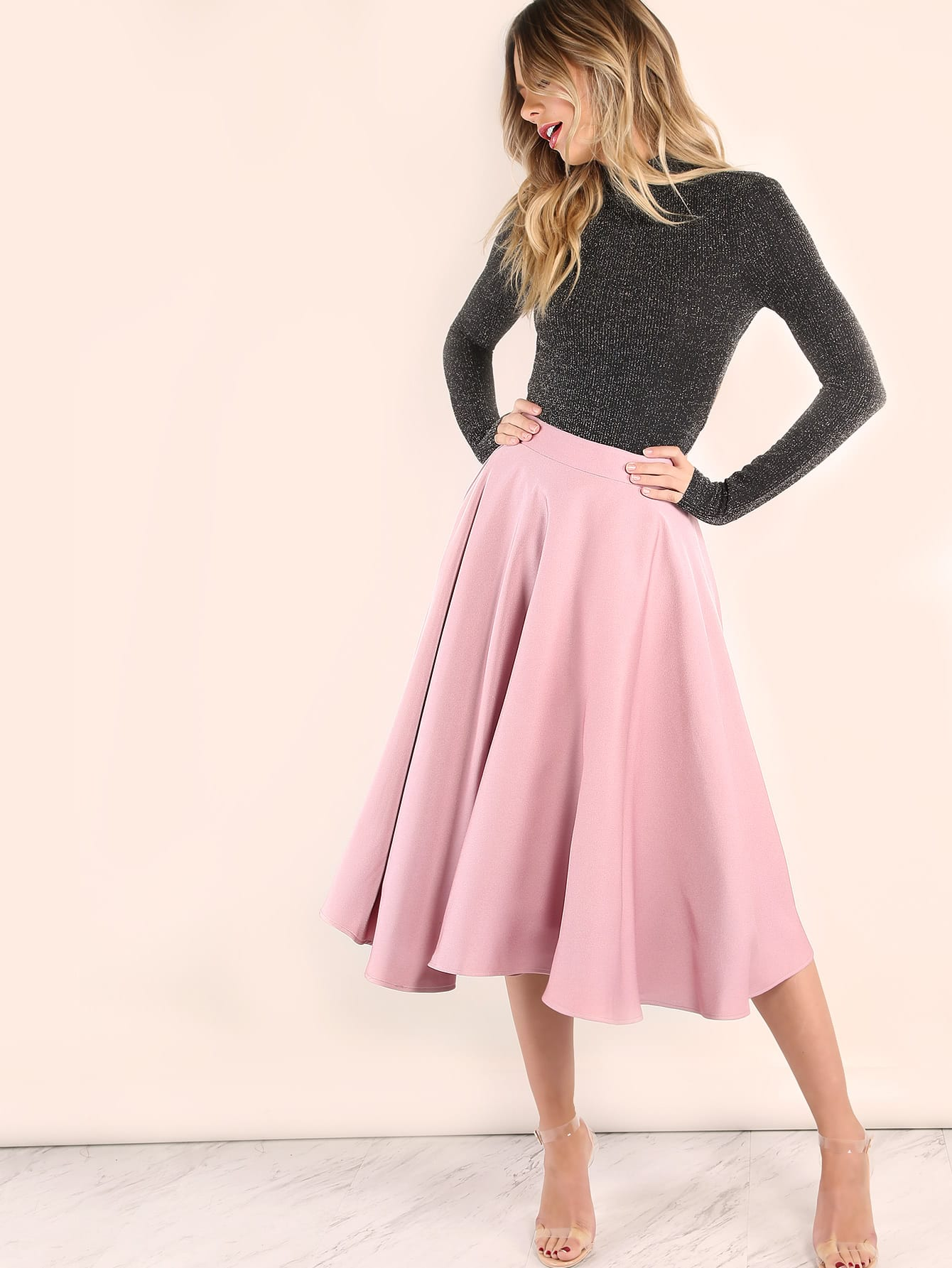 Pink Band Waist Circle SkirtPink Band Waist Circle Skirt<br><br>color: Pink<br>size: L,S,XS
