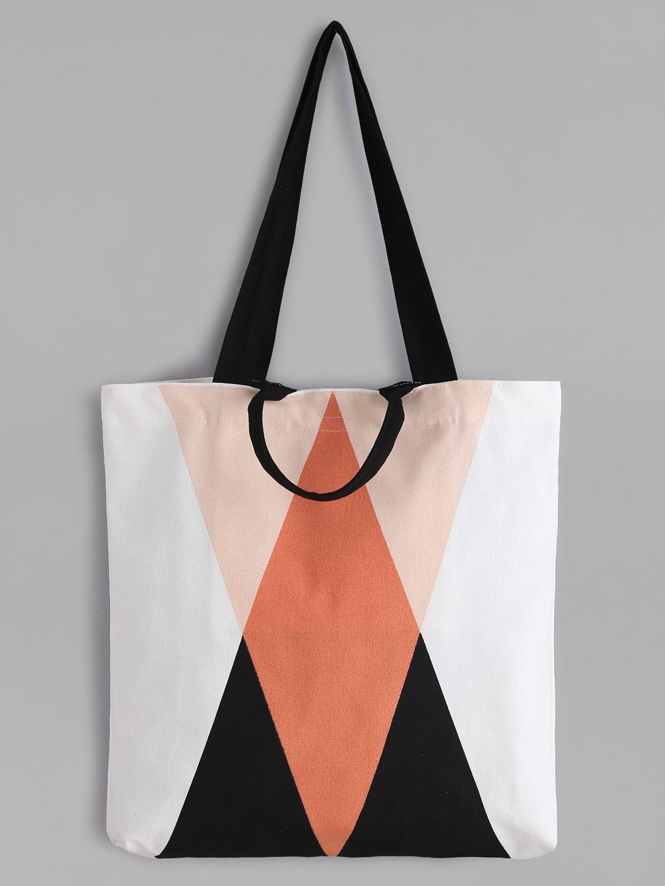Фото Geometric Pattern Minimalist Canvas Tote Bag. Купить с доставкой