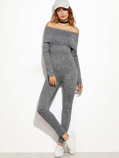 Grey Marled Foldover Off The Shoulder Skinny Jumpsuit