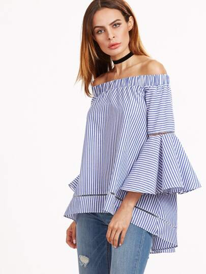 Blue And White Striped Off The Shoulder Bell Sleeve Blouse