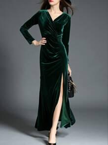 Dark Green V Neck Velvet Split Maxi Dress