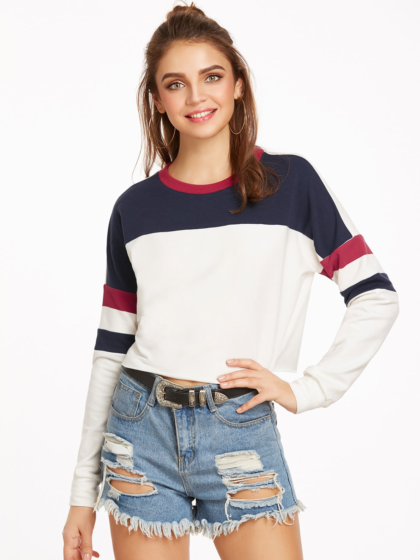 Color Block Drop Shoulder Raw Hem Crop Sweatshirt drop shoulder frill hem batwing sweatshirt