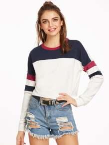 Color Block Drop Shoulder Raw Hem Crop Sweatshirt
