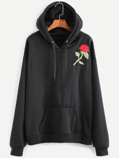 Kapuzensweatshirt Rosa Stickereien mit Tunnelzug und Tasche-schwarz