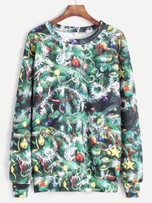 Sweat-shirt imprimé arbre de Noël - vert