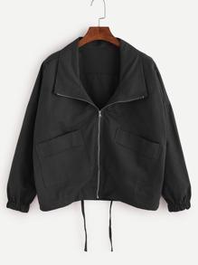 Black Drop Shoulder Drawstring Hem Coat