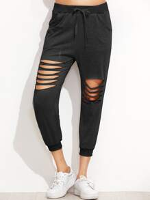 Ladder Cut Out Drawstring Pants