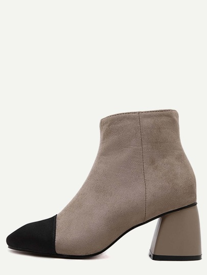 Apricot Square Toe Chunky Heel Suede Booties