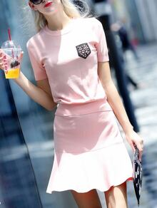 Pink Beading Knit Top With Frill Skirt
