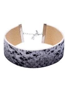 Grey Snake Skin Pattern Wide Choker Necklace