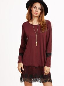 Burgundy Contrast Lace Trim Shift Dress