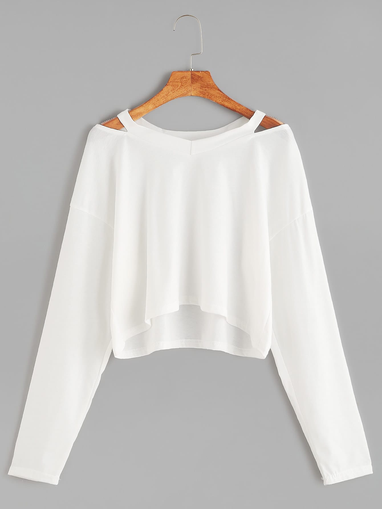 White Cut Out Neck Crop T-shirt цена и фото