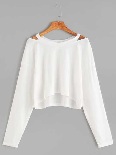 Kurze T-shirt Cut-Outs Kragen-weiß