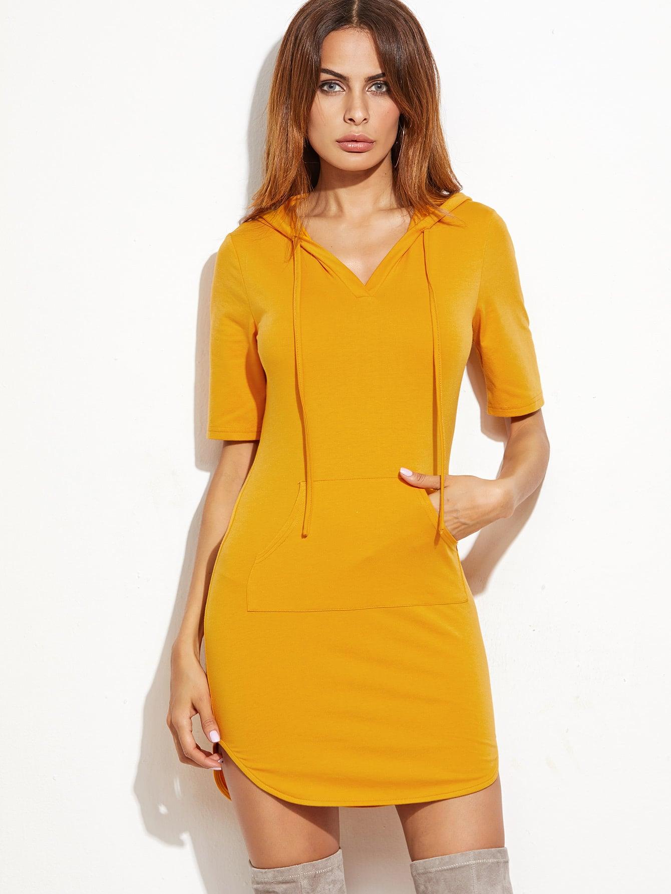 Фото Drawstring Hoodie Dress With Kangaroo Pocket. Купить с доставкой