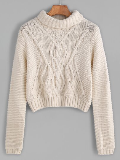 Apricot Turtleneck Crop Cable Knit Sweater
