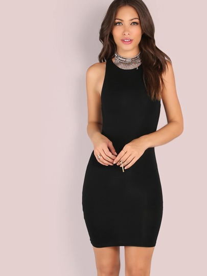 Black Racer Neck Bodycon Dress