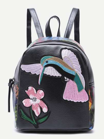 Flower and Bird Embroidered Backpack