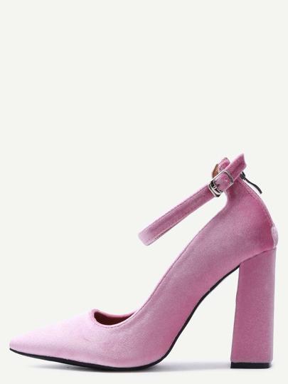 Pink Velvet Point Toe Ankle Strap Heeled Pumps