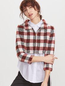 Multicolor Plaid Crop Zip Up Tweed Jacket