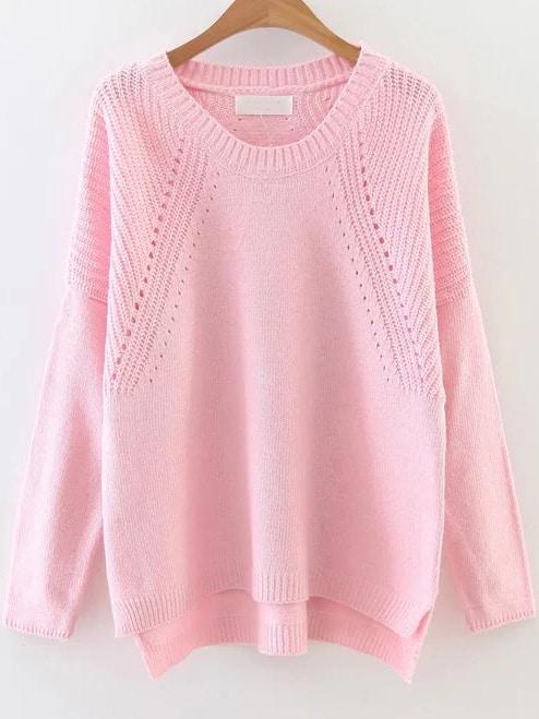 Pink Hollow Out Drop Shoulder Dip Hem Sweater sweater161124205