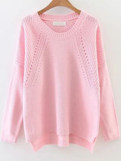 Hollow Out Drop Shoulder Dip Hem Sweater