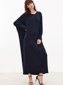 Navy Batwing Sleeve Loose Maxi Dress