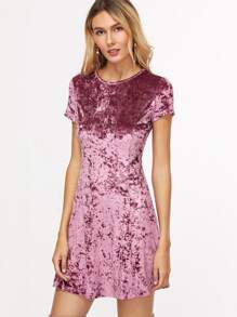 Purple Zip Back Crushed Velvet Dress