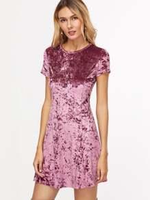 Purple Zip Back Crushed Velvet Dress