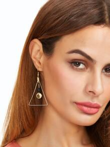 Gold Tone Hollow Triangle Coin Bead Drop Earrings