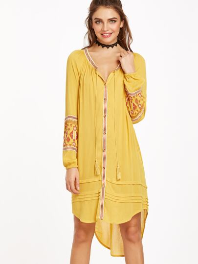 Yellow Tie Neck Embroidered Lantern Sleeve High Low Shirt Dress