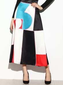 Color Block Zipper Back A-Line Skirt