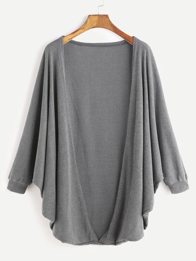 Dark Grey Batwing Sleeve Cardigan