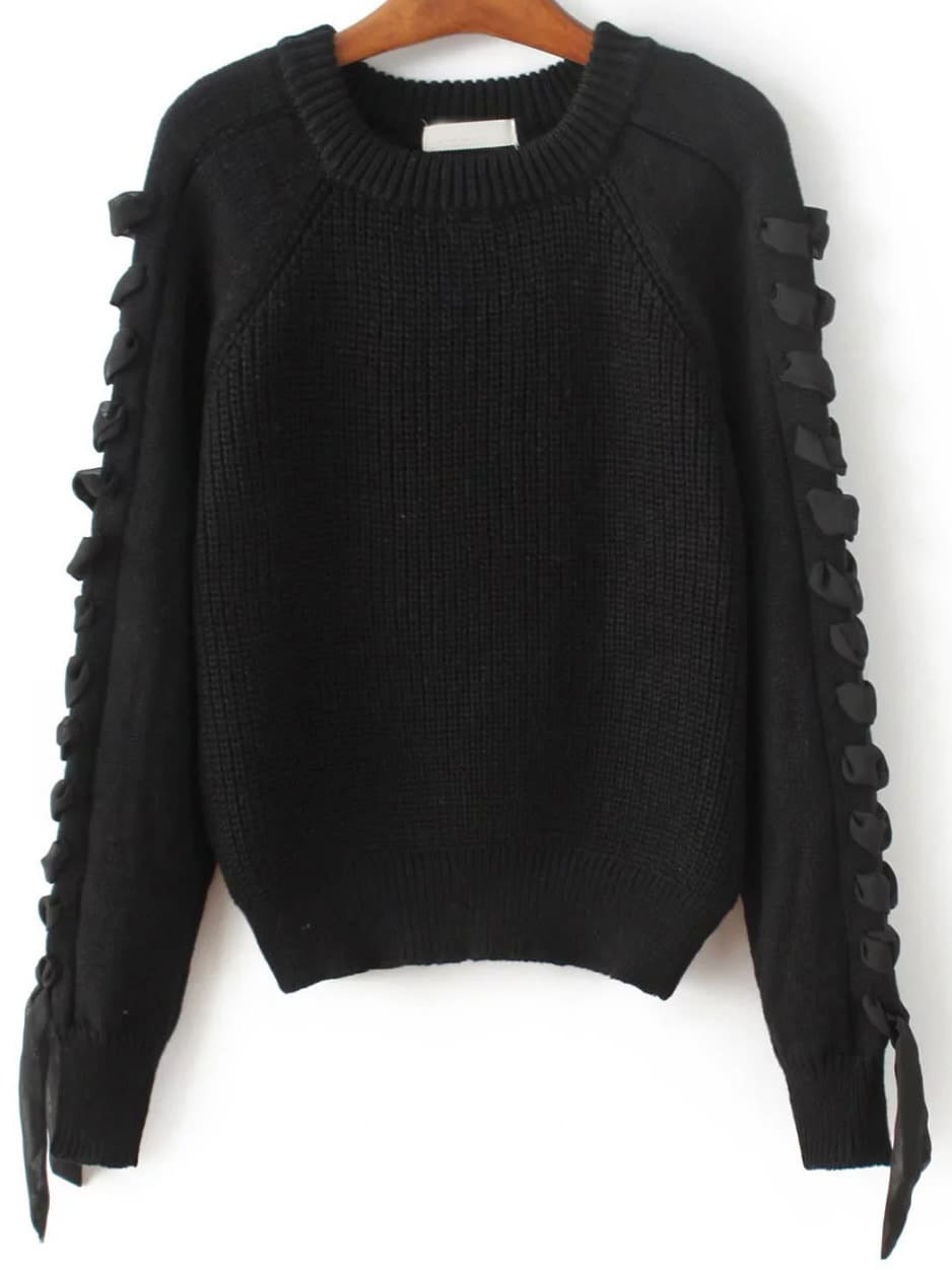 Black Lace Up Detail Raglan Sleeve Sweater sweater161103205