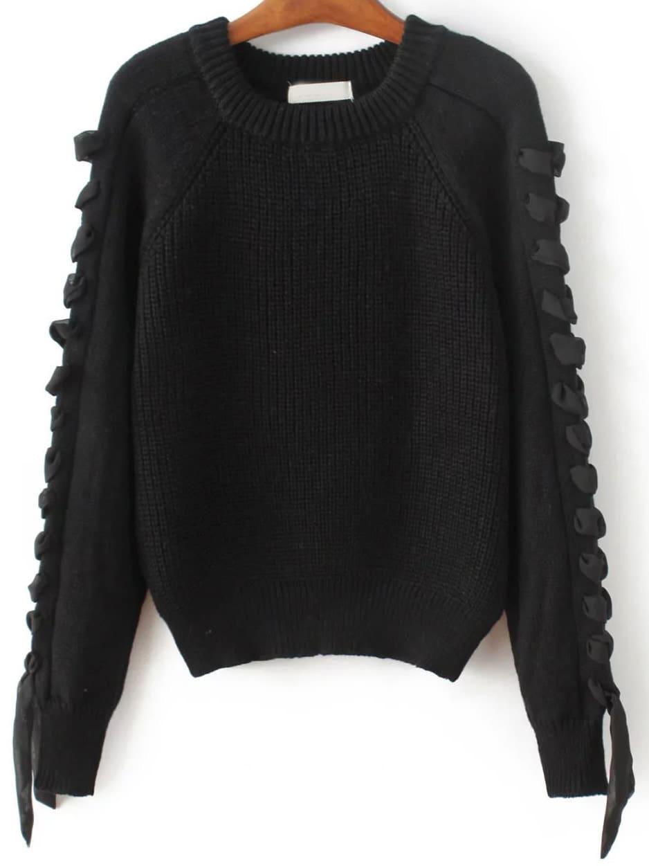 Black Lace Up Detail Raglan Sleeve Sweater sweater161103205