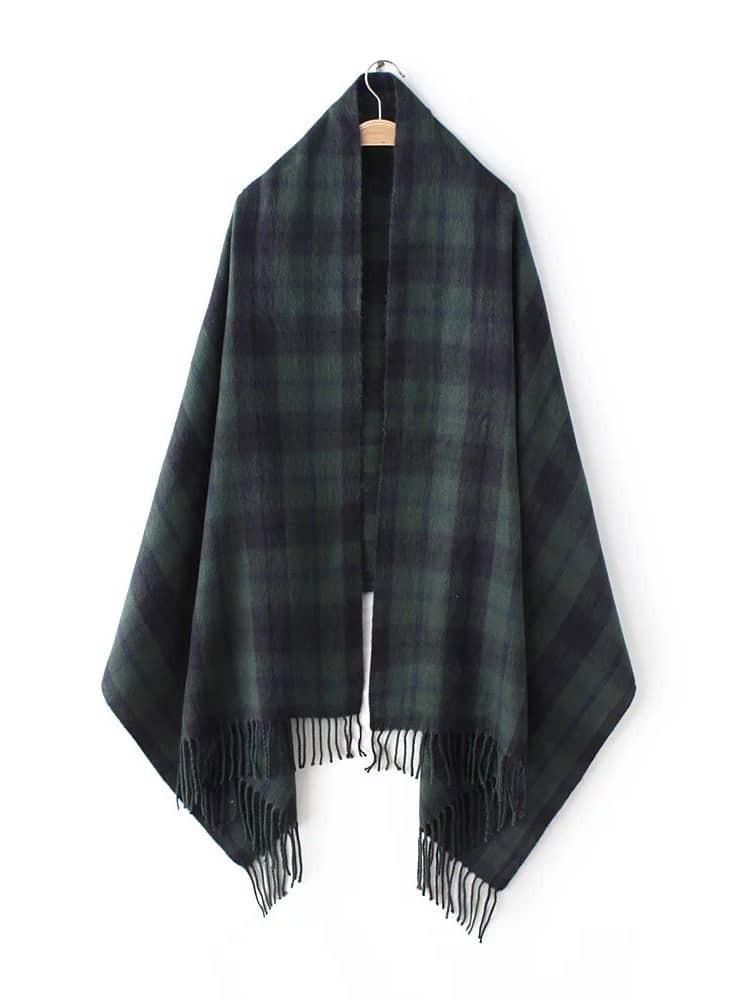 Green Tartan Plaid Long Fringe Shawl ScarfGreen Tartan Plaid Long Fringe Shawl Scarf<br><br>color: Green<br>size: None