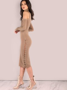 Sleeved Cold Shoulder Turtleneck Ribbed Lace Up Midi Dress TAUPE