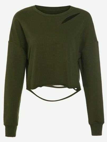 Army Green Drop Shoulder Distressed Crop Sweatshirt
